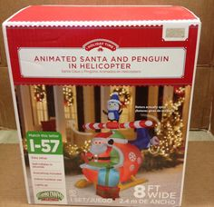 ANIMATED SANTA & PENGUIN HELICOPTER Christmas Airblown Inflatable Yard Decor