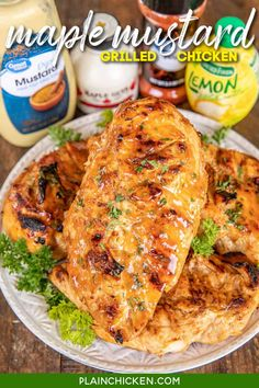 Maple Mustard Grilled Chicken - so simple! Only 6 ingredients - chicken, maple, dijon mustard, lemon juice, paprika, and salt. Let the chicken marinate in the fridge and then grill or cook on the stove. We LOVE this easy chicken. The maple mustard sauce is to-die-for delicious! My husband asks me to make this at least once a week - SO good! #marinade #chicken #grilled #glutenfree Maple Mustard Chicken, Maple Chicken, Honey Mustard, Plain Chicken Recipe, How To Cook Chicken, Grilled Chicken Recipes, Baked Chicken, Bbq Chicken, Italian Chicken
