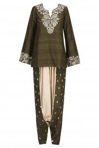 Military Green Embroidered Short Kurta and Pants Set #payalsinghal #newcollection #shopnow #ppus #happyshopping