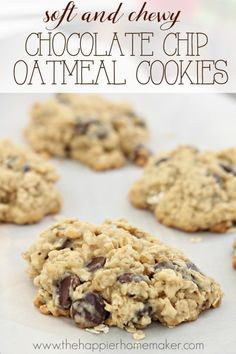 This soft and chewy chocolate chip oatmeal cookie recipe is sure to be a crowd please with it's thick, bakery style texture and indulgent dark chocolate!