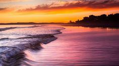 Download Wallpaper 1920x1080 Sea, Waves, Decline, Coast, Evening, Water, City Full HD 1080p HD Background
