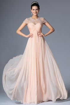 lace & chiffon 2015 floor length scoop a-line prom dress