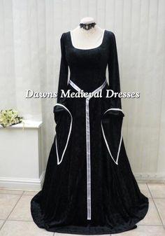 Lotr Medieval Renaissance Dress Costume Black & White, Dawns Medieval Dresses