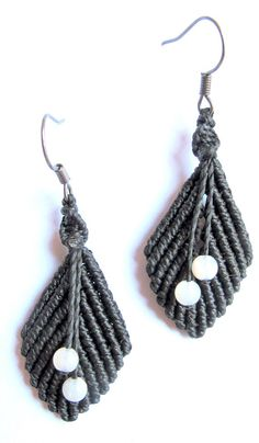 Leaves earrings  macrame earrings  black leaves  by Mediterrasian, $16.00