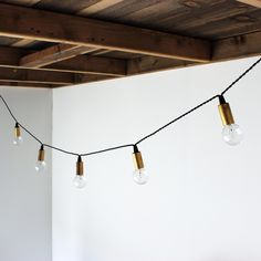 :: Set of string lights with natural brass sockets and black cloth twisted cord, Onefortythree ::