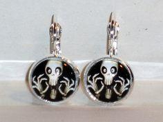 Ohrringe Totenkopf Gothic Kawaii Damen Hänger Leverback Ohrschmuck Modeschmuck