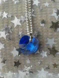 Blue Swarovski Love Heart Pendant on Silver Plated necklace. https://www.etsy.com/listing/161792099/dainty-sapphire-blue-swarovski-heart