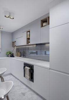 Skandynawska kuchnia - Średnia otwarta zamknięta kuchnia w kształcie litery l z oknem, styl skandynawski - zdjęcie od kkarchitekci