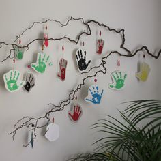 Handprints from kids for a teacher or organizer of a kids group to say thank you or in this case good bye.  The name and a little note is on the back of each handprint.