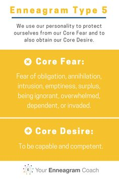 We use our personality to protect ourselves from our Core Fear and to also obtain our Core Desire. Enneagram Type 5 here are yours.  YourEnneagramCoach.com, Beth McCord