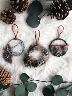 Woodland Christmas Ornament Set - Small Dream Catchers - Boho Christmas Tree Ornaments - Modern Rustic Dreamcatchers - Holiday Cabin Decor by BastandBruin on Etsy https://www.etsy.com/listing/471421656/woodland-christmas-ornament-set-small