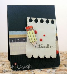 Card by PS GDT Sarah Gough using the PS Just a Note and Scripty Sayings stamp sets along with the Notebook Scallop die