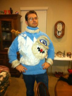 Sweater we made my brother for ugly sweater day hahahahaha!! Thats a squirrel on his shoulder :)