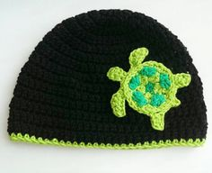 this cute sea turtle crochet beanie is perfect for that turtle lover in your life! it also makes for a very nice photo prop! it looks great on newborns, babies, toddlers, teens and adults.   made from 100% cotton yarn = super comfy!  sizes (approximate): 0-3 months fits 14-15 3-6 months fits 15-16 6-9 months fits 17-18 9-12 months fits 18-19 toddler/preschooler fits 19-21 child 21-22 adult fits 22-23 adult large fits 24-25 First sample photo is hot pink with a sunshine trim. Second sample…