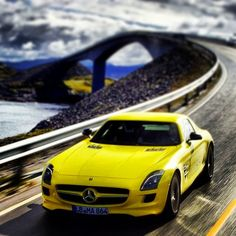 Stunning Photography; Yellow Mercedes SLS on the spectacular Atlantic Road