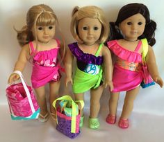 "18"" Doll Swimsuit, Sarong, Sandals, Beach Towel, and Beach Bag for American Girl Dolls"
