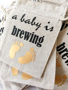 60 Baby Shower Labels Blue Green Baby Brewing 2 in