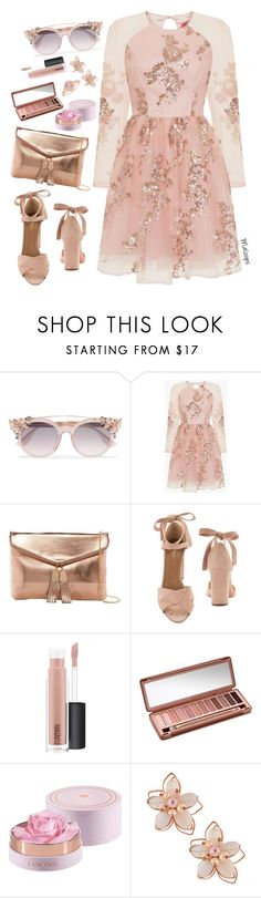 """""""~Chin up princess or the crown slips~"""" by maloops ❤ liked on Polyvore featuring Jimmy Choo, Chi Chi, Urban Expressions, Aquazzura, MAC Cosmetics, Urban Decay, Lancôme, NAKAMOL, chic and Pink"""