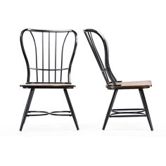 Set of 2 Longford Wood and Metal Vintage Industrial Dining Chair-Black - Overstock™ Shopping - Great Deals on Baxton Studio Dining Chairs