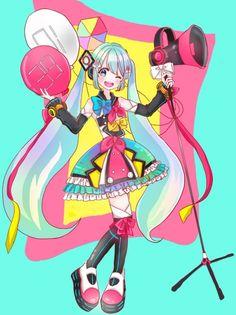 Anime art kawaii cute girl miku hatsune