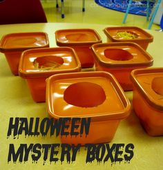 Halloween Mystery boxes - perfect sensory activity for young and old kids on Halloween!!