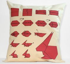 Rabbit Origami Instructions Pillow 16 Handmade by FinchandCotter, $28.00