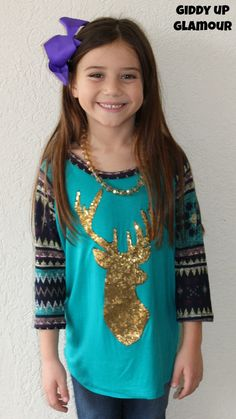 Kids Oh, Deer! Jade and Purple Aztec Sleeved Tunic with Gold Glitter Deer