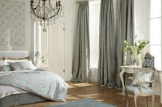 Aquitaine Collection NEW This scene is done in the Eau De Nil Beautiful Bedrooms, Beautiful Interiors, Home Interior Design, Interior Decorating, Made To Measure Blinds, Commercial Furniture, Curtain Designs, Aquitaine, Room Set