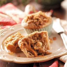 Caramel Apple Muffins Recipe -Anyone who loves caramel apples will love these muffins. They are great served with breakfast or coffee. —Therese Puckett, Shreveport, Louisiana