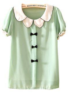 Green Lapel Short Sleeve Bow Chiffon Blouse US$22.30