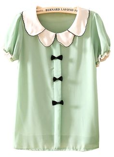Green Lapel Short Sleeve Bow Chiffon Blouse