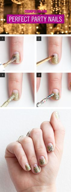 PARTY NAIL TUTORIAL: Here you'll find festive and fun nail art ideas, perfect for New Year's Eve, from Julie Kandalec, creative director of Paintbox Nail Salon. DIY this ~sparkly~ look with gold glitter polish and a polish with colorful, chunky glitter — that's all you need! Wear this glam nail look with your fun party dress and you're NYE look is ready to go! Click through for the easy nail art tutorial.
