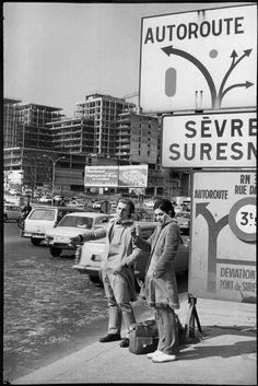 Henri Cartier-Bresson // France. Hauts-de-Seine. Pont de St Cloud. 1969. Hitching a ride...