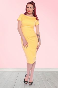 Sherie Pencil Dress Soft yellow | Glamour Bunny