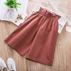 Polka Dot Print Girls Loose Wide Leg Pants For is cheap, come to NewChic and buy the best toddler dresses now! Toddler Pants, Toddler Dress, Toddler Girl, Little Girl Fashion, Kids Fashion, Baby Dress Tutorials, Dress Anak, Kids Frocks, Girl Bottoms