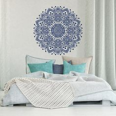 Mandala Wall Decal Bedroom- Mandala Vinyl Wall Decal Boho Bohemian Morrocan Bedroom Decor- Indian Mandala Wall Art Yoga Studio Decor  MEASUREMENTS AVAILABLE  22 Tall x 22 Wide 29 Tall x 29 Wide 36 Tall x 36 Wide  *Picture may not reflect true size.  Also our decals are available in other sizes. Please contact us if you need a special size. Please note that any changes of the decal dimensions will result in the price change. Choose the color of your decal from our color chart shown in last…