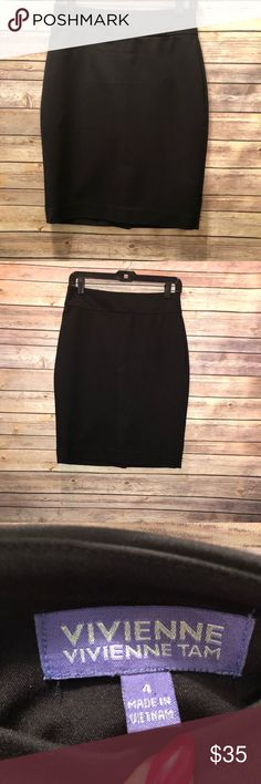 Black Pencil skirt with exposed zipper size 4 A beautiful black  pencil skirt with  exposed zipper in the back . This is a high quality skirt that has a unique design that the front part is slightly shorter grange back. Photos shows the design . This is perfect for work or a date night with some cute  sandals skirt in my excellent condition. vivienne vivienne tam Skirts Pencil