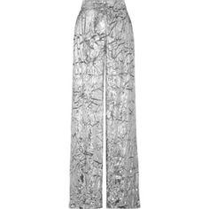 DELPOZO Metallic crushed-velvet wide-leg pants