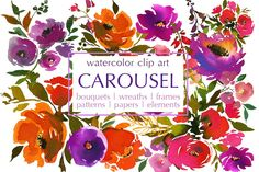 Ad: The Purple and Orange Watercolor Flowers set by White Heart Design is a stunning collection of watercolor floral bouquets, frames, wreaths, patterns, and more! The collection is perfect for wedding invitations, baby shower invitations, greeting cards, printables, logos, branding, product packaging, and more! $18
