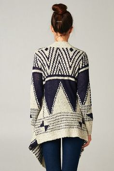 Blue and Off-White Geometric Pattern Cardi/Sweater