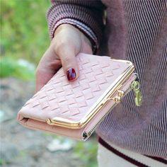 Female European And American Style Weave Wallet Vintage Women Wallet Brand  Small Lock Design Women Purse Small Zipper Coin Purse 5915b7e5e20d