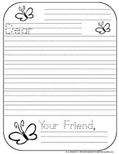 Blank letter template for kids blank template friendly letter friendly letter writing paper for kindergarten 3 spiritdancerdesigns Image collections