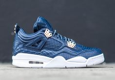 The Air Jordan 4 Premium is back in a new luxurious quilted Obsidian leather with metallic copper accents. Available September 17th. Style Code: 819139-402