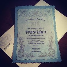 My son's first birthday invitations I made today! Love the elegant prince theme!