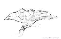 Raven-Crow Free Lineart by ~AmberSea on deviantART