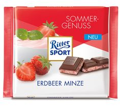 Chocolate Gifts, Mint Chocolate, Ritter Sport, No Sugar Foods, Group Meals, A Food, Strawberry, Sweets, Snacks