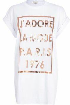 73ee49bb River Island White j'adore Paris foil print t-shirt on shopstyle.co