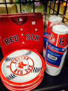 Red Sox party supplies and paper goods. Major league baseball themed party supplies. #baseball #redsox #party www.gofunnybones.com