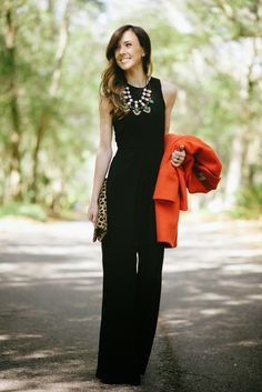 Black Jumpsuit Outfit # & Things Trends Of Winter Apparel Jumpsuit Outfits Outfit Black Outfit How To Wear Outfit 2015 Outfit Where To Get Outfit How To Style Work Fashion, Fashion Beauty, Womens Fashion, Fashion Trends, Fashion Black, Fashion Wear, Street Fashion, Look Formal, Rockabilly