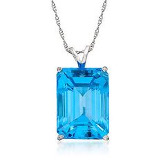 Blue Topaz Pendant Necklace In Sterling Silver. This mesmerizing blue topaz pendant necklace has everything - depth, intensity of color and a sizable presence. >>Click on the pin to view more Blue Topaz Necklaces. #blue #bluetopaz #necklace #pendant #colorblock #trend